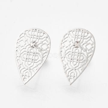 Brass Stud Earrings, Teardrop, Real Platinum Plated, 16x10mm; pin: 0.6mm(X-KK-S345-277P)