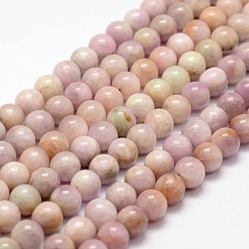 Natural Kunzite Beads Strands, Spodumene Beads, Round, 8mm, Hole: 1mm, about 49pcs/strand, 15.1 inches(G-F364-10-8mm)