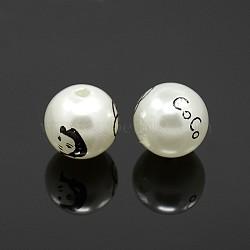 Perles rondes imprimé acryliques, avec une belle dame et mot coco, blanc, 20mm, Trou: 2mm(SACR-F0001-20mm-01)
