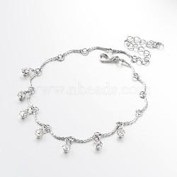 Bracelets de cheville avec breloque en laiton avec strass à la mode, avec alliage homard fermoirs pince, platine, 200mm(AJEW-AN00118)
