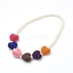 """Perles de verre colliers bavoir déclaration, avec des perles acryliques, 5.3"""" (13.4 cm)(NJEW-JN02222)"""