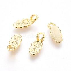 Cales plates en alliage à coller pour la fabrication de pendentifs, or, 13x6x4 mm, trou: 3x2 mm(X-PALLOY-WH0021-01G)