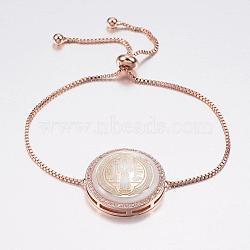 """Bracelets réglables de bolo de coquille de zircone cubique en laiton de pave réglable, Bracelets coulissants, avec des chaînes de boîte en laiton, plat rond avec la médaille de saint bénédict, blanc, or rose, 10-1/4"""" (260 mm); 1.2mm(BJEW-H557-07RG)"""