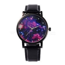 Женские сплав Кожа PU кварцевые наручные часы, со стразами, покрытие черного цвета металла, чёрные, 240x18 мм; голова часы: 39.5x10.5; Циферблат: 35 мм(WACH-M131-02D)