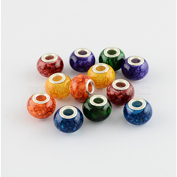 Spray Painted Glass European Beads, with Silver Color Plated Brass Core, Large Hole Beads, Rondelle, Mixed Color, 14~15x11mm, Hole: 4.5~5mm(X-GPDL-R007-M1)