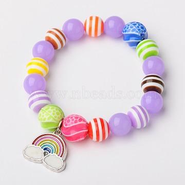 Neon Acrylic Round Beads Stretch Bracelets for Kids, with Colorful Acrylic Beads, Resin Beads and Alloy Enamel Rainbow Pendants, Platinum, Medium Purple, 45mm(X-BJEW-JB01456-02)