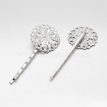 Hair Accessories Iron Hair Bobby Pin Findings, with Filigree Flower Cabochon Bezel Settings, Platinum, Tray: 25mm; 63x25x5mm(MAK-J007-45P)