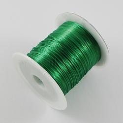 chaîne de cristal élastique plat, fil de perles élastique, pour la fabrication de bracelets élastiques, vert, 1 mm, 10 m / rouleau(EW-S002-10)