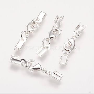 Silver Color Plated Brass Clip Ends, with Lobster Claw Clasps, Nice for Jewelry Making, 33x5mm(X-KK-G144-S)