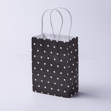 kraft Paper Bags, with Handles, Gift Bags, Shopping Bags, Rectangle, Polka Dot Pattern, Black, 15x11x6cm(CARB-E002-XS-R02)