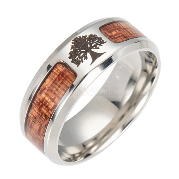 Stainless Steel Wide Band Finger Rings, with Acacia, Tree, Size 9, Stainless Steel Color, 19mm(X-RJEW-T005-9-12)
