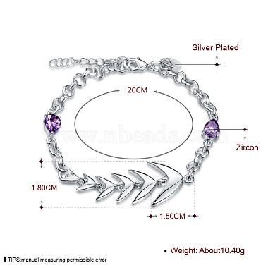 Brass Fishbone Link Bracelets(BJEW-BB17088)-3