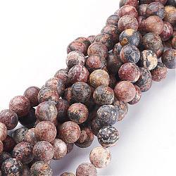 """15~16"""" brin de pierres fines rondes, jaspe en peau de léopard rouge, taille: 8mm de diamètre; 15~16"""" / brin, environ 46 perles, trou: environ 1 mm.(GSR066)"""