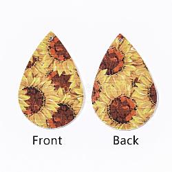 gros pendentifs en cuir pu, larme avec motif de fleurs, verge d'or, 55x35x2 mm, trou: 2 mm(X-FIND-T058-B08)