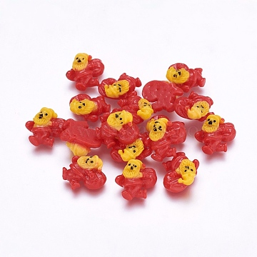 Colorful Resin Cabochons, Christmas Style, Santa Claus , Crimson, Size: about 12mm long, 13mm wide, 6mm thick(X-CRES-A777-7)