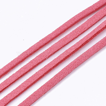 Faux Suede Cord, Faux Suede Lace, Hot Pink, 2.5~2.8x1.5mm, about 1.09 yards(1m)/strand(LW-R023-2.8mm-24)