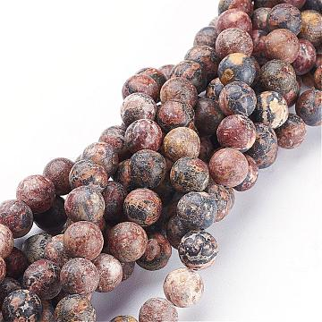 15~16 inches Round Gemstone Strand, Red Leopard Skin Jasper, Size:8mm in diameter,  15~16 inches/strand,about 46 beads, hole: about 1mm.(GSR066)