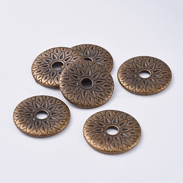 CCB Plastic Beads, Flat Round with Flower, Antique Bronze, 31x3mm, Hole: 6mm(CCB-G007-19AB)