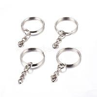 Iron Split Key Rings, Keychain Clasp Findings Platinum, 25x2mm