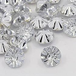 Boutons en acrylique avec strass, 1-trou, facette, rivoli xilion, cristal, 13x8mm, Trou: 1mm(BUTT-J002-01)