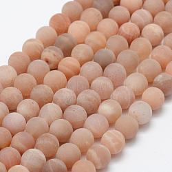 Natural Sunstone Beads Strands, Frosted, Round, 6mm, Hole: 1mm; about 66pcs/strand, 15.1''(38.5cm)