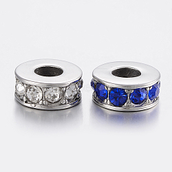 304 perles de strass en acier inoxydable, grandes perles de trou, colonne, couleur mélangée, 14x6 mm, trou: 6 mm(STAS-H446-110P)
