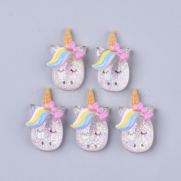 Resin Cabochons, with Glitter Sequins, Unicorn, Colorful, 27x16x7mm(X-CRES-N018-033)
