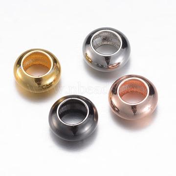 laiton perles d'entretoise, rondelle, couleur mélangée, 8x4 mm, trou: 4 mm(X-KK-P050-02)