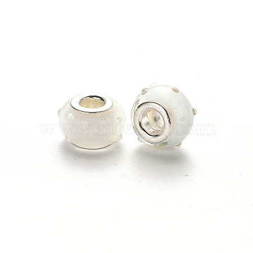 Handmade Lampwork European Beads, Large Hole Rondelle Beads, Bumpy Lampwork, with Platinum Tone Brass Double Cores, Floral White, 16~17x14~15x9~10mm, Hole: 5mm(LPDL-N001-034-F10)