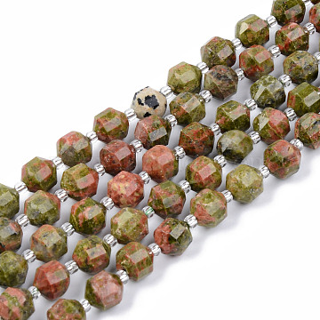 Natural Unakite Beads Strands, Round, Faceted, 7~8x8mm, Hole: 1.2mm; about 38~40pcs/strand, 15.16inches(38.5cm)(G-R482-15-8mm)