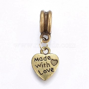 26mm Heart Alloy Dangle Beads