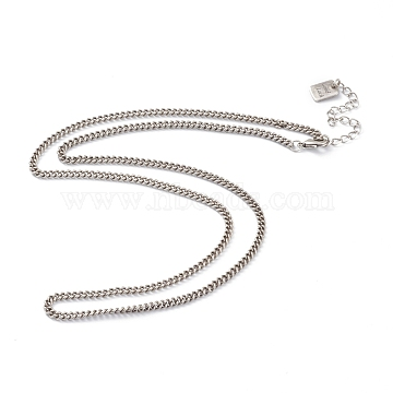 Brass Curb Chain Necklaces, with Lobster Claw Clasps, Long-Lasting Plated, Word Good Luck, Antique Silver, 20-3/8 inches(51.8cm)(NJEW-H206-04AS)