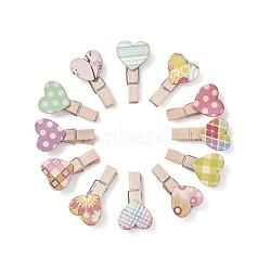 Pinces à cheville en bois, Ficelle de corde de chanvre, couleur mixte, 37.5x21x11mm, 3 mm; 100 pcs / set, 1roll / set(DIY-TA0003-02)