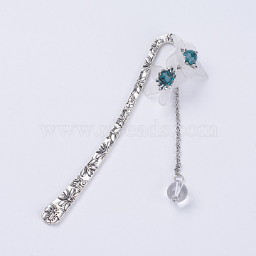 Tibetan Style Alloy Pendants Bookmarks, with Translucent  Frosted Acrylic Beads, and Imitation Austrian Crystal Beads, Flower, Antique Silver, Cyan, 122.5x10mm(AJEW-JK00135-05)