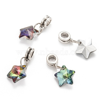 Tibetan Style Alloy Large Hole European Dangle Beads, with Electroplated Glass Star Charms, Antique Silver, 26mm, Hole: 5mm(X-PALLOY-JF00040)