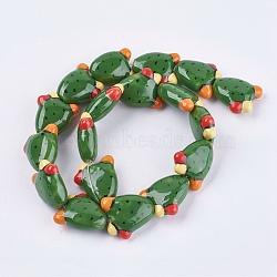 Handmade Porcelain Beads, Cactus, Green, 21x19x9mm, Hole: 1.5mm(X-PORC-G002-08)