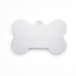 pendentifs en aluminium pour animaux de compagnie, estampillage d'une étiquette vierge, os, blanc, 25x38x1 mm, trou: 2.5 mm(ALUM-WH0006-02)