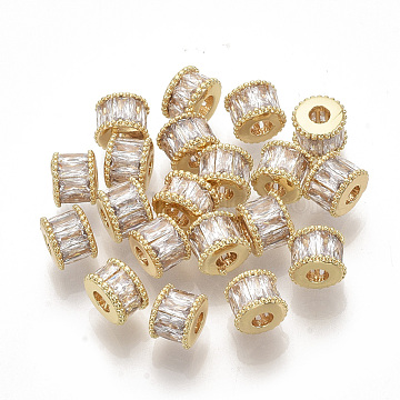 Brass Micro Pave Cubic Zirconia Beads, Column, Real 18K Gold Plated, Clear, 7x5.5mm, Hole: 2.5mm(X-ZIRC-D116-06)