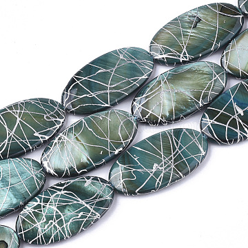 Freshwater Shell Beads Strands, Dyed and Drawbench, Oval, Dark Slate Gray, 30~32x15~17x3~5mm, Hole: 1mm; 13pcs/strand, 16.14 inches(X-SHEL-S274-51A)