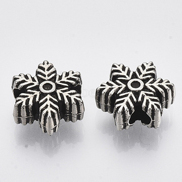 Christsmas Theme, CCB Plastic European Beads, Large Hole Beads, Snowflake, Antique Silver, 14.5x14.5x6mm, Hole: 4mm; about 920pcs/500g(CCB-S163-108)
