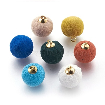 Handmade Plush Cloth Covered Pendants, with Environmental Plastic Findings, Round, DeepSkyBlue, 18x14mm, Hole: 1.5mm(X-WOVE-F021-01G)