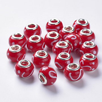 Handmade Lampwork European Beads, Large Hole Beads, with Platinum Color Brass Double Cores, Rondelle, Red, 14x11mm, Hole: 5mm(X-LAMP-S193-008A)