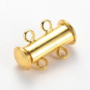 2-Strands Brass Magnetic Slide Lock Clasps, 4 Holes, Golden, 16x10x5mm, Hole: 2mm(X-KK-E668-04G)