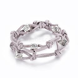 """Bracelets de cordon de faux suède de l'environnement, 2-loop, avec fermoirs à ressort en laiton et perles ohm en alliage de style tibétain, gris clair, 15""""~15-3/8"""" (38~39 cm)(BJEW-JB04369-04)"""