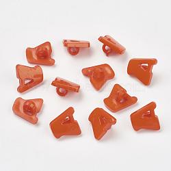 Boutons en acrylique, 1-trou, teint, lettre a, orange rouge , 14x13x2mm, Trou: 3mm(X-BUTT-E028-04)
