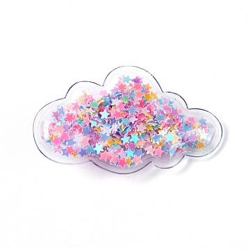 Plastic Alligator Hair Clips, with Paillette & Platinum Plated Iron Base, Cloud, Colorful, 38~38.5x64~65x13~14mm(PHAR-L005-I07)
