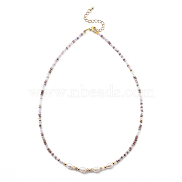 Beaded Necklaces, with Brass Beads, Glass Beads, Natural Pearl Beads and 304 Stainless Steel Lobster Claw Clasps, Golden, Plum, 17.91 inches(45.5cm) (NJEW-JN03075-01)
