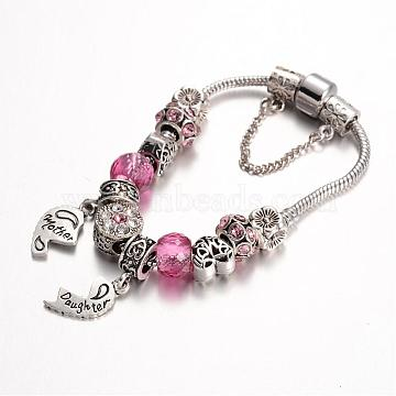 Alloy Rhinestone Bead European Bracelets, with Glass Beads and Brass Chain, Hot Pink, 180mm(BJEW-L602-08A)
