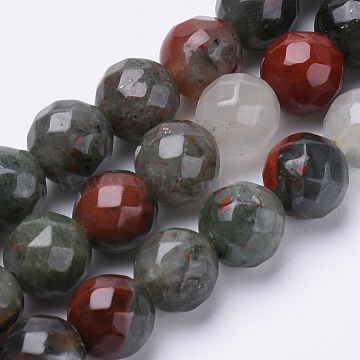 Natural African Bloodstone Beads Strands, Heliotrope Stone Beads, Faceted, Round, 6mm, Hole: 1mm; about 62pcs/strand, 15.3inches(G-S281-21-6mm)