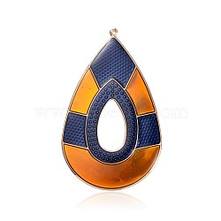 Plaqué or clair drop fer émail gros pendentifs, or, 76x46x1mm, Trou: 1mm(IFIN-J101-01KCG)